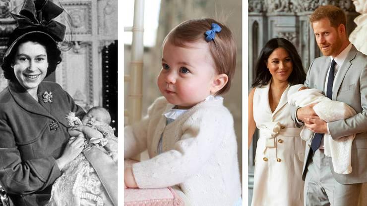 Royaler Nachwuchs: Elizabeth 1948 mit Charles, Prinzessin Charlotte im Mai 2016 und Harry, Meghan sowie ihr Sohn Archie am Dienstag.