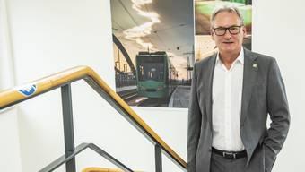 Bruno Stehrenberger am Hauptsitz der BVB: «Ich bin froh, wieder mehr soziale Kontakte zu haben.»