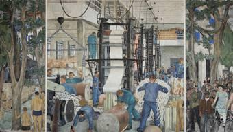 Das Triptychon «Papierfabrik Biberist» von Hans Berger wurde zwischen 1935 und 1939 erstellt. Es ist insgesamt über sechs Meter lang und fast 2,5 Meter hoch. (Foto: Hanspeter Bärtschi)