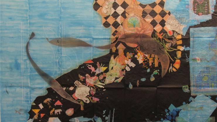 «Pfaueninsel» – eine Arbeit von Esther Ernst. Derzeit in der Galerie Rössli in Balsthal zu sehen.
