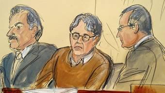 ARCHIV - Diese Gerichtszeichnung zeigt den Angeklagten Keith Raniere (M) im Gerichtssaal. Foto: Elizabeth Williams/AP/dpa