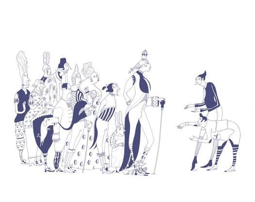 Ein ganzes Buch mit nur einer Farbe illustrieren? Auch das kann Albertine Zullo. Hier eine Szene aus  «Le roi nu.»