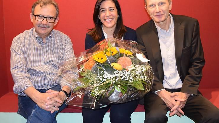 Die designierte Maz-Direktorin Martina Fehr mit ihrem Vorgänger Diego Yanez (links) und Maz-Stiftungsratspräsident Res Strehle.