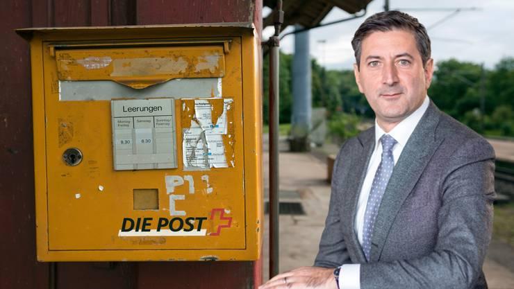 Die Post und ihr neuer Chef Roberto Cirillo stehen vor vielen Herausforderungen: Neben Postfinance macht auch das schrumpfende Kerngeschäft, die Briefpost, Probleme. (Montage)