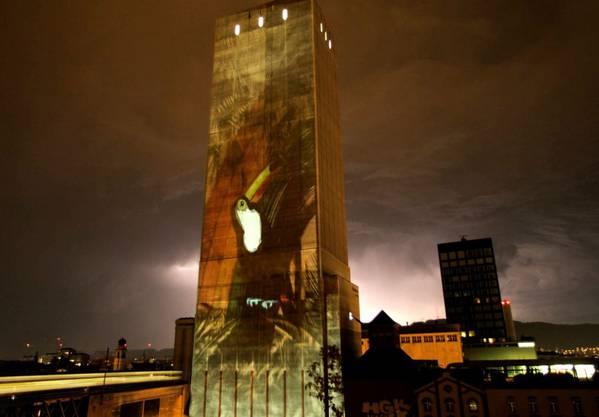 Das Künstlerkollektiv postet das Bild auf Facebook mit den Worten: « Swissmill Tower zeigt seine paradiesischen Seiten!»