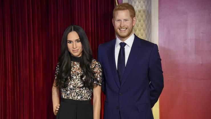 Gehen auf Abstand: Die Wachsfiguren von Prinz Harry (rechts) und dessen Ehefrau Meghan Markle bei Madame Tussauds in London werden getrennt.