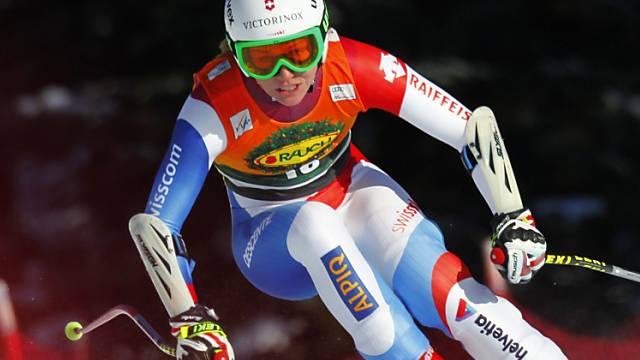 Fabienne Suter unterwegs zu ihrem 12. Weltcup-Podestplatz.