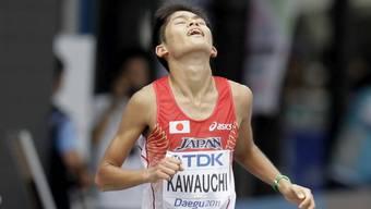 Der Japaner Yuki Kawauchi, als er 2011 den Marathon in Südkorea beendet.
