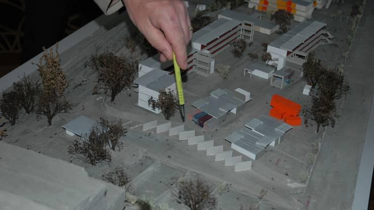 Modell des geplanten Strichplatzes mit Verrichtungsboxen in Zürich-Altstetten