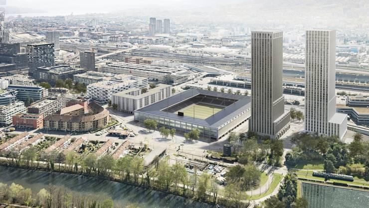 """Blick auf das geplante Hardturm-Stadion mit den beiden Hochhäusern. Das geplante Projekt """"Ensemble"""" von HRS Investment AG, Credit Suisse und der Allgemeinen Baugenossenschaft Zürich (ABZ) umfasst neben einem Stadion für 18'000 Zuschauer auch 170 Genossenschaftswohnungen."""