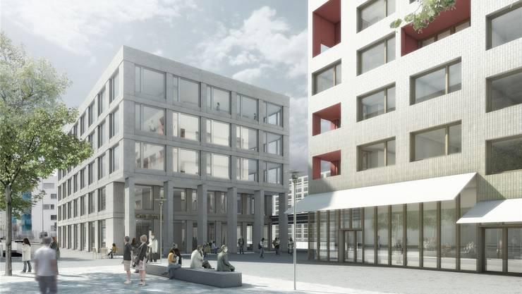 Westlich des bestehenden Bahnhofgebäudes werden Wohnungen und Läden erstellt. Visualisierung/Zvg