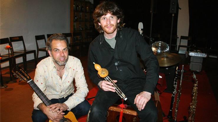 Nach dem Konzert im Dunkeln: Sandro Schneebeli (l.) und Max Pizio. psc