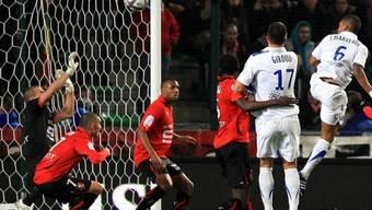 Joris Marveaux (rechts) trifft per Kopf zum Sieg für Montpellier