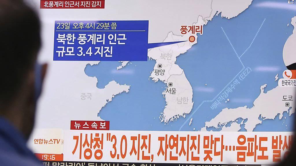 Eine Karte in einer südkoreanischen News-Sendung zeigt den Ort des Erdbebens.
