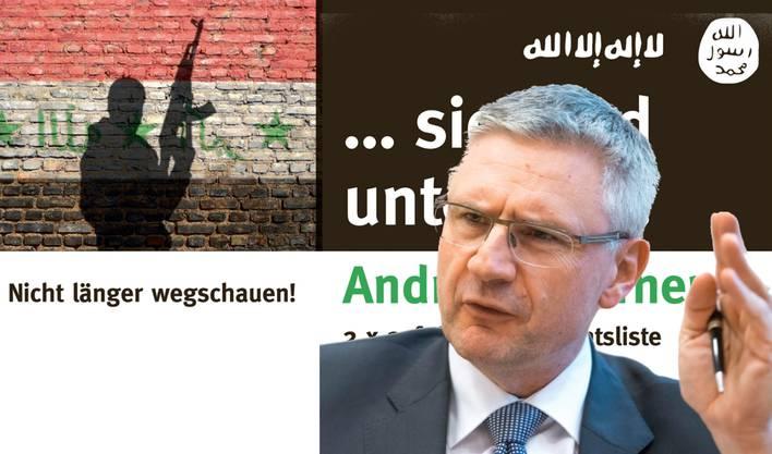 Widerspruch auf dem Wahlplakat: Die rot-weiss-schwarze Flagge links hat nichts mit dem Islamischen Staat zu tun.