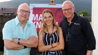 Stargitarrist Mark Knopfler (l.) am St. Peter at Sunset mit Roland Suter (r.) und Plakatgestalterin Jorien Badertscher in der Mitte.