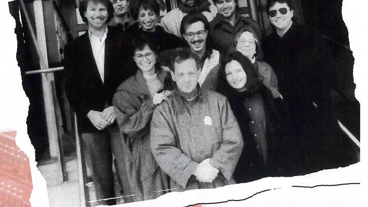 Foto zum Sendestart von Radio 32 am 24.02.1991. Damals hatte der Sender in Zuchwil ein Studio zur Verfügung.
