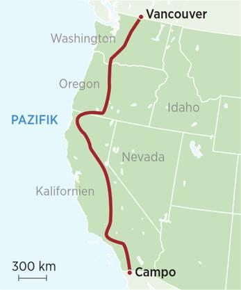 Karte: Pacific Crest Trail von Campo nach Vancouver