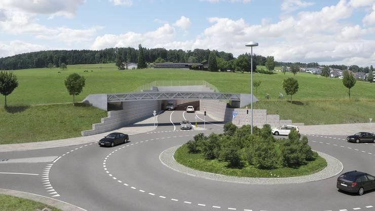 Visualisierung der Umfahrung Sins mit dem neuen Kreisel Süd und dem Eingang in den 912 Meter langen Tunnel, der im Südwesten geplant ist.