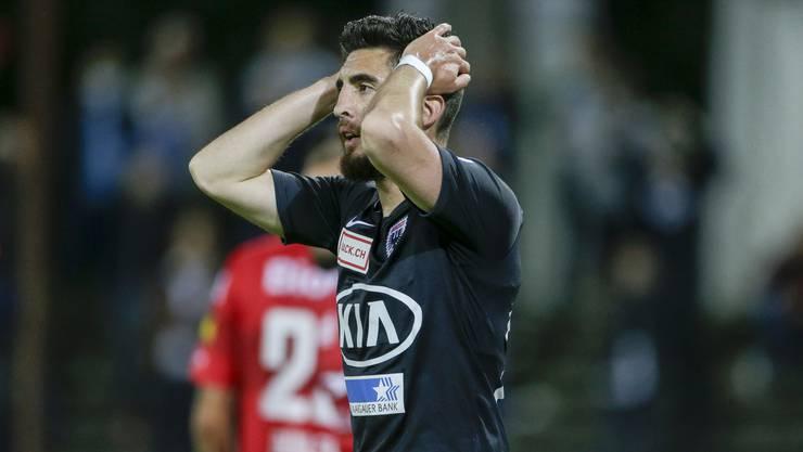 Aarau verliert zu Hause gegen Winterthur mit 2:3 - Petar Misic ist die Enttäuschung ins Gesicht geschrieben.