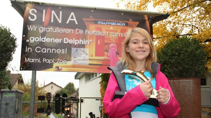 Sina Eichhorn (12) wurde daheim mit einem Plakat empfangen