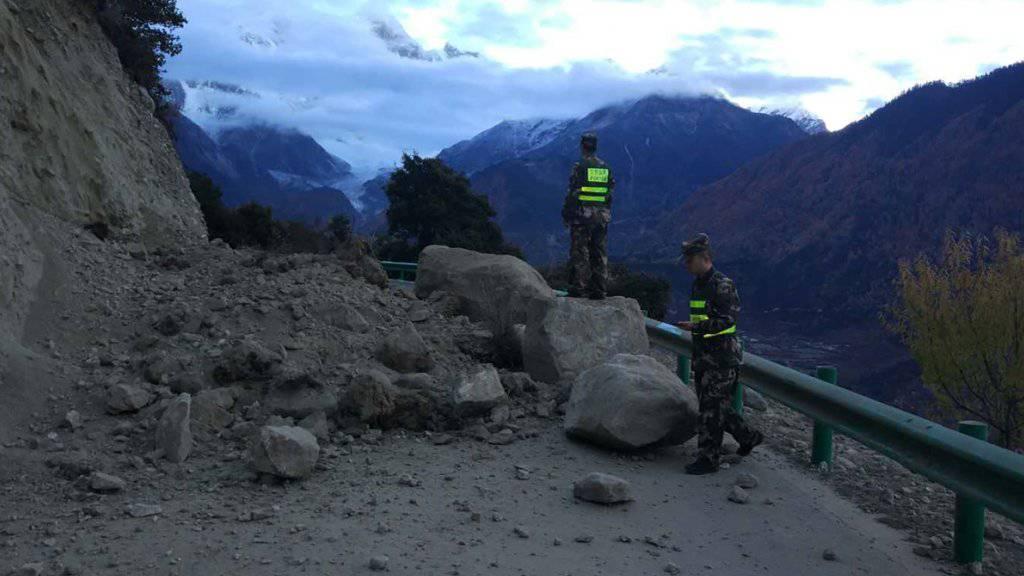 Nur leichte Schäden: Ein Erdbeben der Stärke 6,9 hat am Samstag Tibet erschüttert.