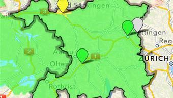 Die Luftqualität gestern Donnerstag um 15 Uhr bei der Messstation in Sisseln: Belastung mit Ozon wird in der Aircheck-App angezeigt. chr