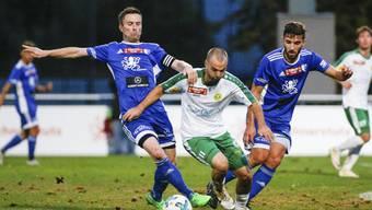 Alain Schultz (Nr. 10, FC Wohlen) und Stefano Milani (Nr. 13, FC Wohlen) im Spiel FC Wohlen gegen den SC Brühl aufgenommen im Stadion Niedermatten in Wohlen am 25. August 2018.