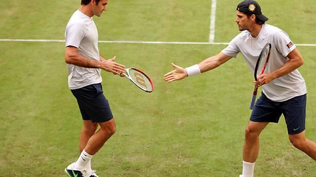 Roger Federer am Montag im Doppel mit dem Deutschen Tommy Haas