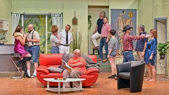 """Die Theatergruppe Stüsslingen probt das neue Stück """"Hotel Mimosa"""""""