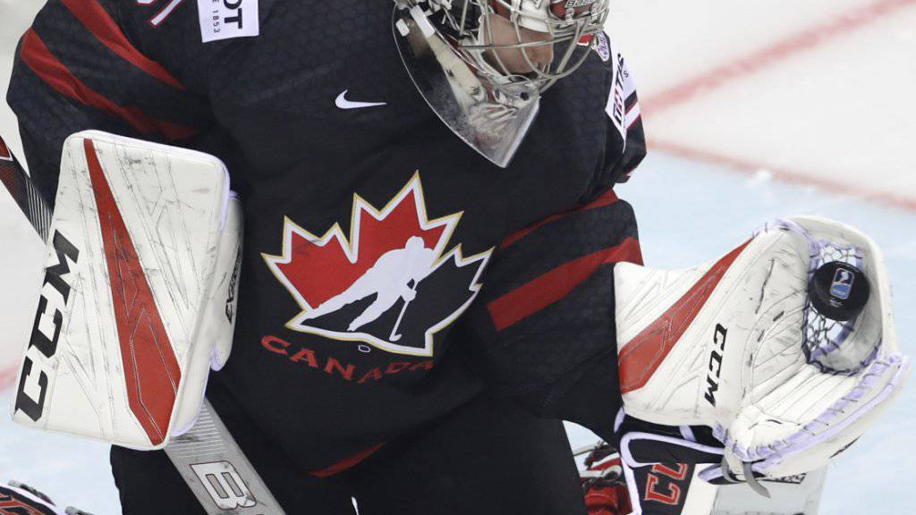Die Kanadier stellen das jüngste Team an der WM - und Goalie Carter Hart (20) von den Philadelphia Flyers ist ihr jüngster Spieler