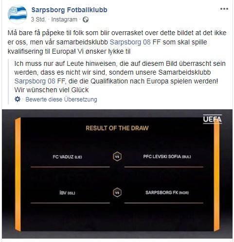 «Wir sind nicht gemeint!», schreiben die Verantwortlichen des Sarpsborg FK. (Bild: Screenshot Facebook)
