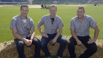 Die grossen drei am Fernsehen (von links): Thomas Sutter, Adrian Käser, Jörg Abderhalden