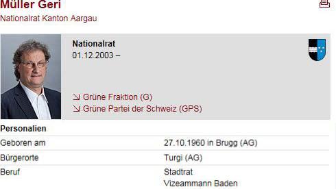 Auf der Website des Parlaments heisst es, der Grüne Nationalrat Geri Müller sei der Vizeammann Badens.