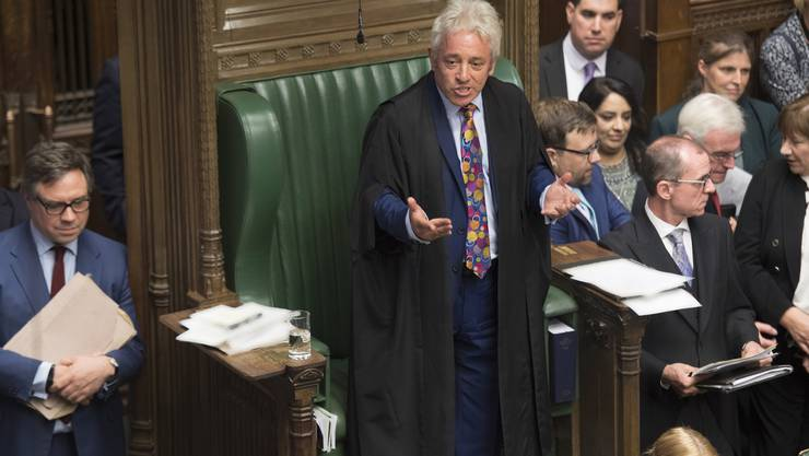 epa07830693 A handout photo made available by the UK Parliament shows Speaker of the House of Commons John Bercow (C) speaking in the House of Commons in London, Britain, 09 September 2019. Reports state that John Bercow says he will stand down as Commons Speaker and Member of Parliament at the next election or on 31 October 2019, whichever comes first. EPA/JESSICA TAYLOR/UK PARLIAMENT / HANDOUT MANDATORY CREDIT: UK PARLIAMENT / JESSICA TAYLOR HANDOUT EDITORIAL USE ONLY/NO SALES