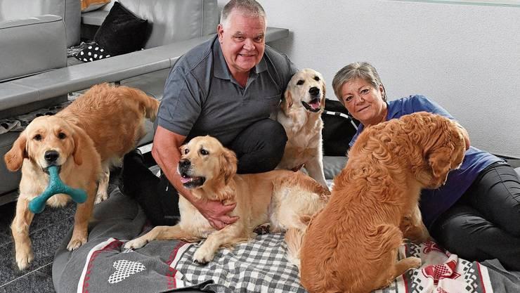 Mario und Claudia Schmocker mit vier ihrer sieben Hunde.