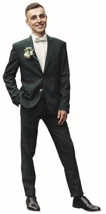 Die Herren treibens verhältnismässig bunt: Dunkelgrüne Anzüge sind en vogue.