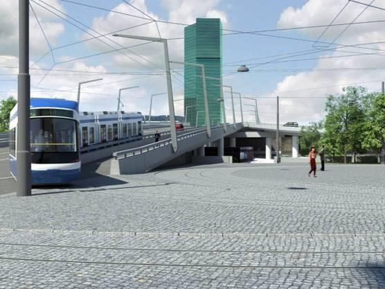 Visualisierung: Tram fährt beim Hardplatz auf die Hardbrücke.