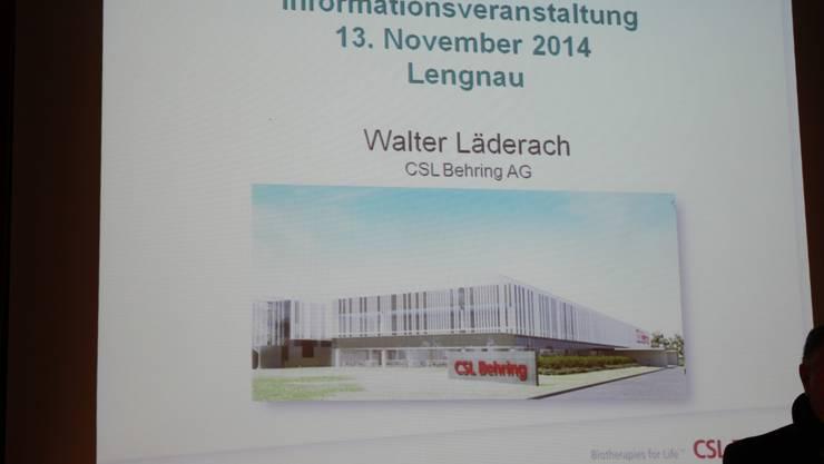 Informationsveranstaltung zum geplanten Neubau des Pharmakonzerns in Lengnau