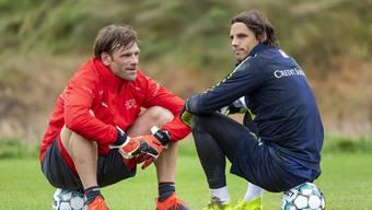 Goalietrainer Patrick Foletti mit Yann Sommer, einem Eckpfeiler des Schweizer Teams. (Bidl: Georgios Kefalas / Keystone)