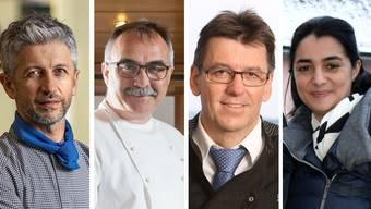 Vier Personen, die von den Restaurantschliessungen hart getroffen sind: Araz Abram, Adrian Meier, Willy Nyffenegger und Agatina Ieraci.
