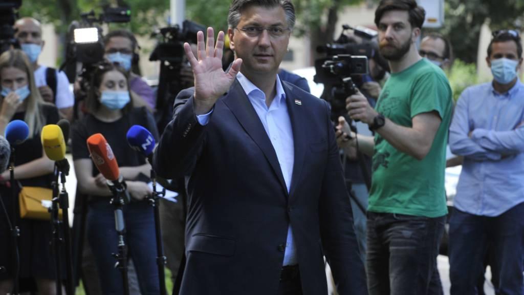 Andrej Plenkovic nach der Stimmabgabe am Sonntag in Zagreb.