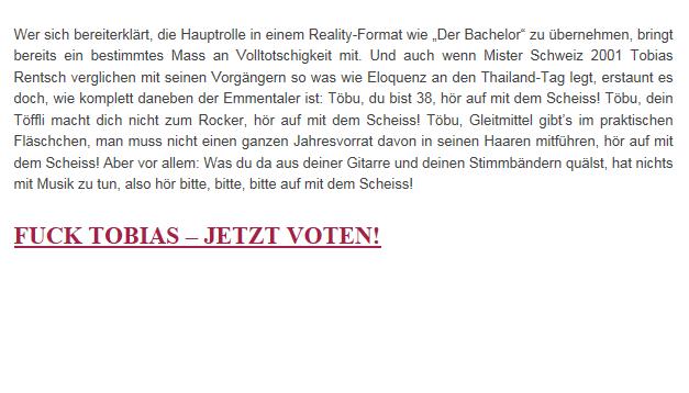Auf der Website des Magazins kriegt der Ex-Mister Schweiz sein Fett weg.
