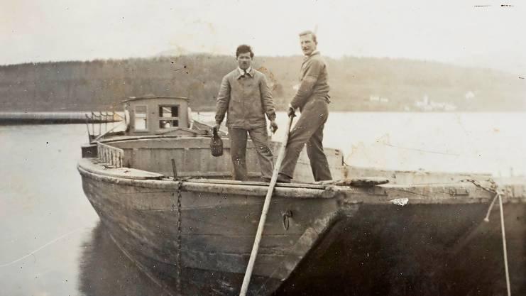 Franz Keiser (l.) arbeitete bis zum Ausbruch des Zweiten Weltkriegs auf dem See.