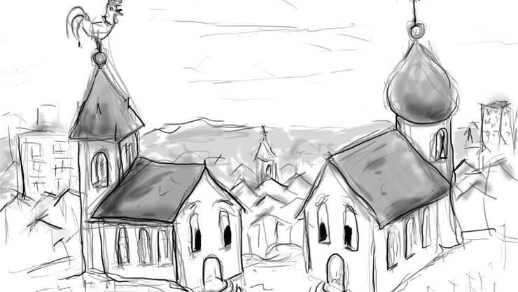 Zur Illustration griff der reformierte Pfarrer selber zum Stift und kreierte diese Karikatur. Foto: ZVG