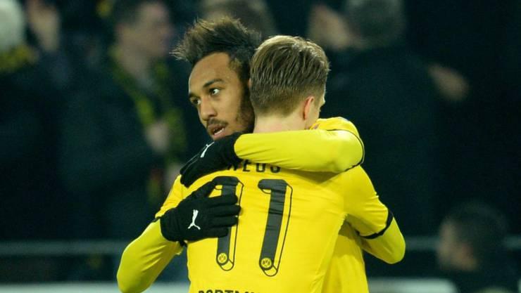 Beim Sieg gegen Tottenham die Matchwinner für Dortmund: Pierre-Emerick Aubameyang (hinten) und Marco Reus