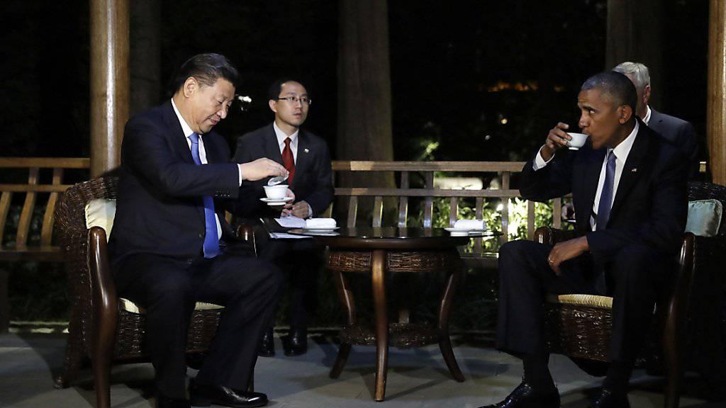 Chinas Präsident Xi Jinping und US-Präsident Barack Obama beim gemeinsamen Tee. So idyllisch ging es vor dem G20-Gipfel nicht immer zu und her.