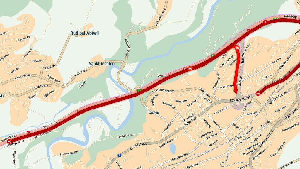 Auf der St.Galler Stadtautobahn staute es am Donnerstagnachmittag.
