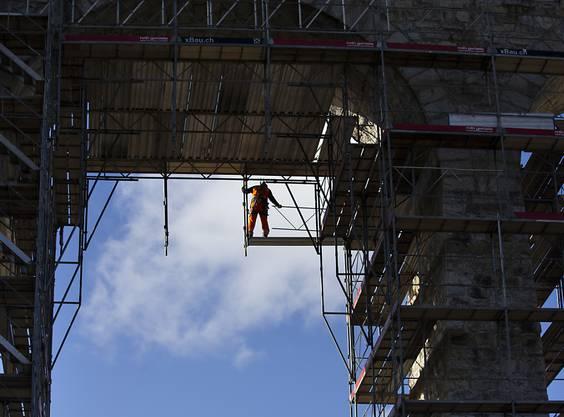 Einsatz in luftiger Höhe am Saaneviadukt.