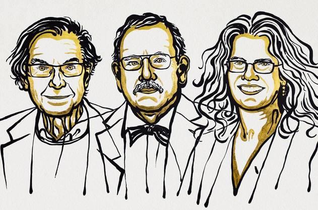 Der Physiknobelpreis 2020 geht zur einen Hälfte an Roger Penrose (links) und zur anderen Hälfte an Reinhard Genzel und Andrea Ghez.